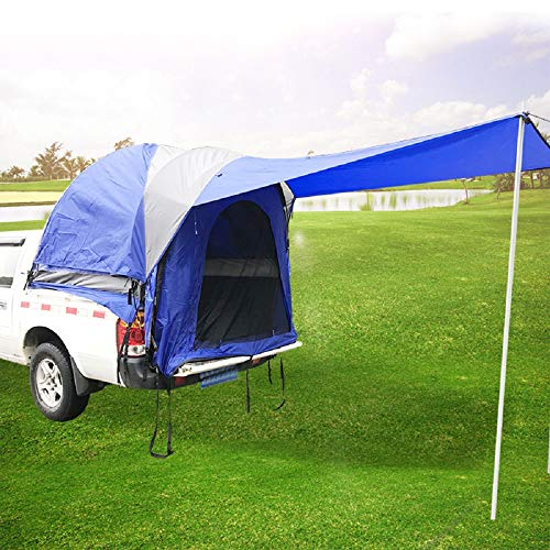 Mein LAY Waterproof Double Layer Full Size Truck 5.5 Foot Bed Tent with Floor Blue & Grey