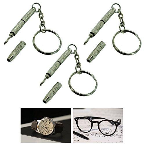 3X Precision Eyeglass Screwdriver Mini Keychain Sunglass Eyewear Repair Kit - Sunglasses Precision