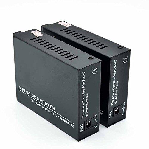 Jeirdus 1 Pair Gigabit Ethernet Singlex SC 40KM Fiber Optic Media Converter,10/100/1000M Singlemode