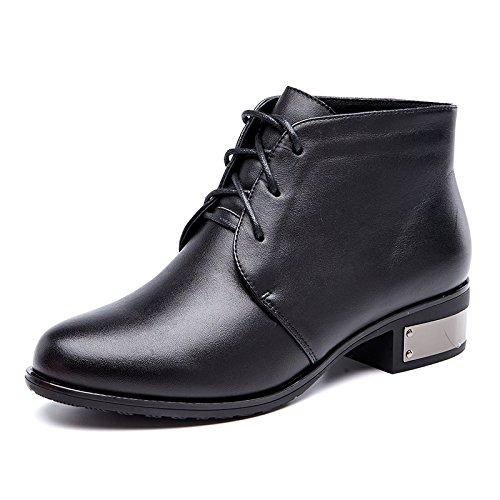 gruesa de e correa cálidas cortas Monzón botas de mujer zapatos redonda botas Otoño Cilindro con cabeza Aemember 37 negro algodón mujeres con corto Invierno 8Iwqq