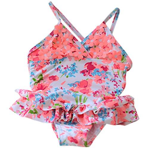 CAKYE® Baby-Girls Newborn One Piece Swimsuit (9-12 months, Orange Flowers)
