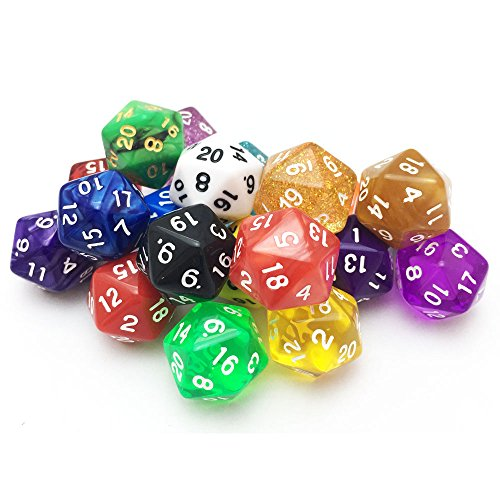 SmartDealsPro 10 Pack of Random Color D20 Polyhedral Dice DND RPG MTG Table Games (D20 Sets Dice)