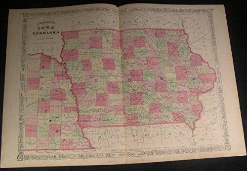 Iowa & Nebraska Montgomery County Des Moines fine antique color map
