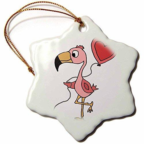 Christmas Ornament All Smiles Art Birds - Cute Funny Pink Flamingo Bird with Heart Love balloon - Snowflake Porcelain Ornament -