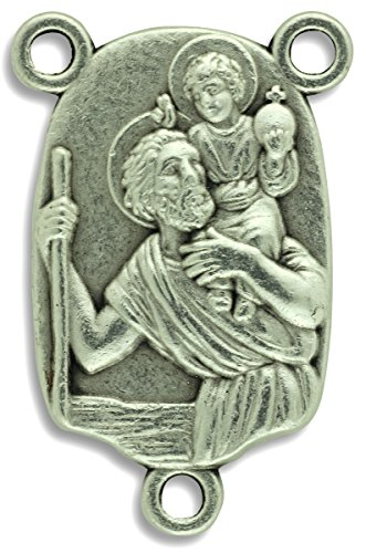 Christopher Italian Charm (LOT of 5 - Rosary Center St St. Saint Christopher Pray for Us Centerpiece for Rosary 1