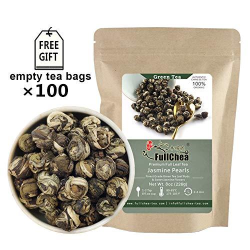 FullChea - Jasmine Pearl Tea - Jasmine Dragon Pearls - Loose Leaf Green Tea - Jasmine Green Tea with Delightful Aroma 8oz / 226g