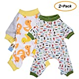 2-pack Dog Clothes Dogs Cats Onesie Soft Dog Pajamas Cotton Puppy Rompers Pet Jumpsuits Cozy Bodysuits for Small Dogs and Cats by HongYH