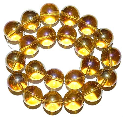 Golden Yellow Glass - Golden Yellow AB 20mm Round Glass Beads 16