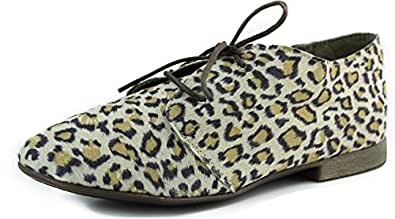 Women's Breckelle'S Sandy-21 Leopard Animal Prints Laced Up Oxford Shoes, Leopard, 6