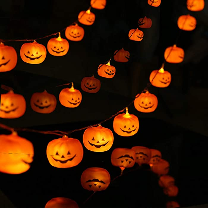 KAILEDI Halloween String Lights, LED Pumpkin Lights, Holiday Lights for Outdoor Decor,2 Modes Steady/Flickering Lights(20 One Pumpkin Lights, 9.8 feet) (Pumpkin)