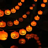 MILEXING Halloween String Lights, LED Pumpkin Lights, Holiday Lights for Outdoor Decor,2 Modes Steady/Flickering Lights(20 On