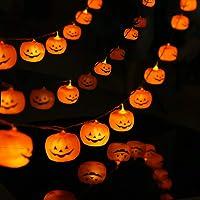 Halloween String Lights, LED Pumpkin Lights, Holiday Lights for Outdoor Decor,2 Modes Steady/Flickering Lights(20 One Pumpkin Lights, 9.8 feet) (Pumpkin)