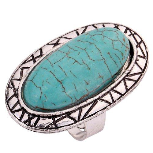 Tibetan Turquoise Jewelry (YAZILIND Vintage Oval Design Rimous Adjustable Ring)