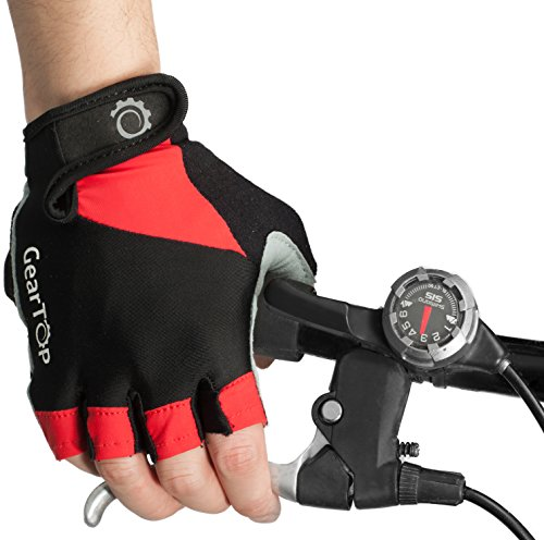 GearTOP Cycling Gloves - Half Finger Light Pad Protection For Riding Weightlifting Cycling And More - Women and Men Sporting Glove (Red/Black, Medium)