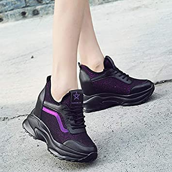 9b17c39814a HOESCZS Sports Wind Women S Shoes Autumn New Wild Wedges Inside Increased  Single Shoes Thick Bottom Platform