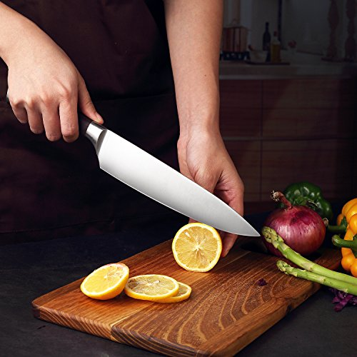 PAUDIN Kitchen Knife, 8 inch Chef Knife N2 German Stainless Steel knife with Sharp Edge and Ergonomic Wood Handle, 5Cr15Mov kitchen knife for Pro & Home Chefs by PAUDIN (Image #8)