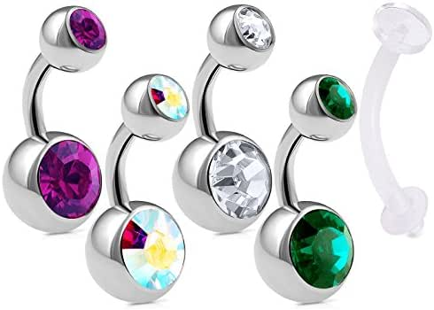 bodyjewellery 5Pcs Belly Button Surgical Steel 14g 1/4 6mm Short Navel Ring Ear Ball Bar Crystal Retainer Lot Piercing - CL AB AM EM