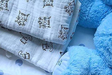 2 mantas de muselina 100% algodón orgánico, diseño de gato gatito, extra grande, 117 x 117 cm, para bebé: Amazon.es: Bebé