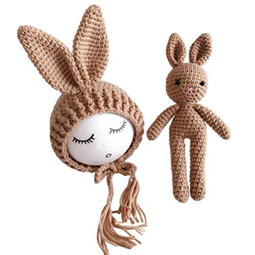 (YeahiBaby Newborn Baby Knit Rabbit Bunny Hat Beanie With Rabbit Dolls Photography Photo Prop accessories (Light Tan))