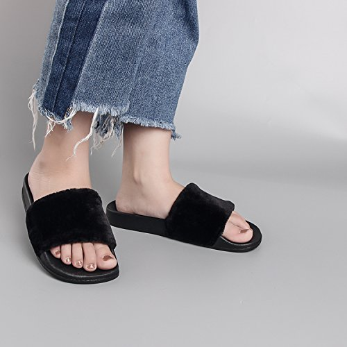 Slippers Fur Soft Slide Black Faux House Women's SANDALUP qxUwC1x