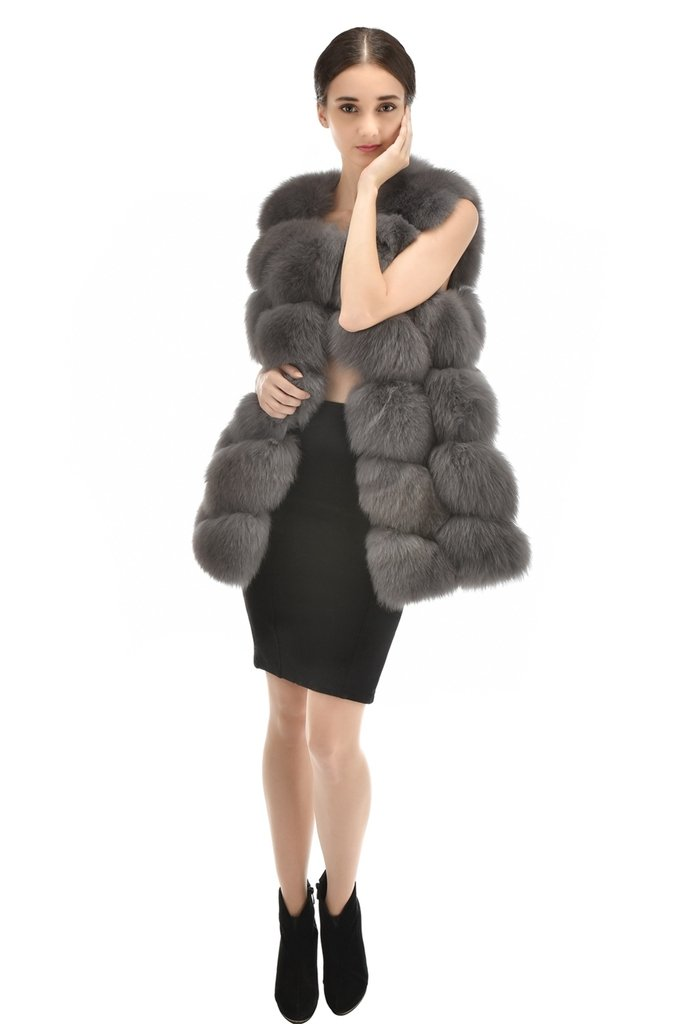 OLLEBOBO Women's Knitted Jacket without Sleeves without Collar Genuine Fox Fur Size L Grey by OLLEBOBO