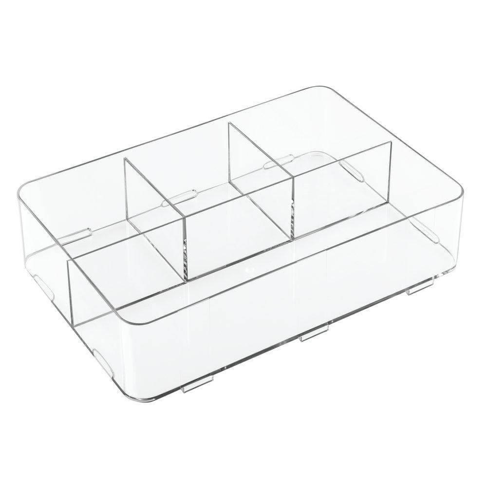 InterDesign Clarity Divisorio per cassetti, Organizer per cassetti con 4 Scomparti in plastica, Trasparente 42410
