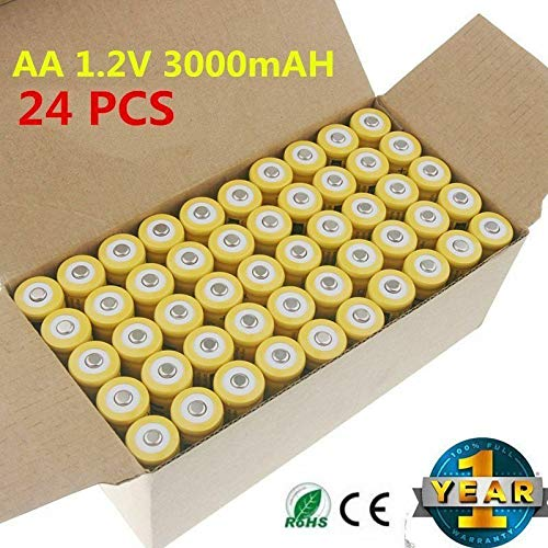 24PCS X AA 3000mAh Ni-Mh 1.2V rechargeable battery Cell for MP3 RC Yellow US