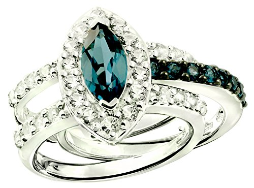 2.94 Cts London Blue Topaz, White Topaz Set of 2 Stack Rings in 925 Sterling Silver with Rhodium-Plated (6) by RB Gems