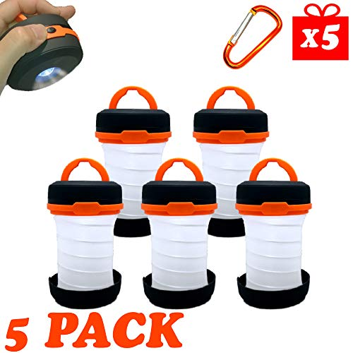 5 Pack Collapsible Flashlight Lantern - Portable LED Lights Battery Powered Tent Light for Camping Emergency Lantern Battery Operated Lanterns for Indoor Power Outages FREE 5 Carabiner