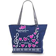 Pardao Music Notes Tote Bag with Piano Keyboard, Treble Clef and Pink Hearts