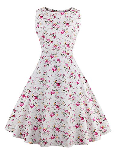 Vintage dress Women's Floral Garden Party Picnic Dress WHITEPINK 2XL