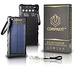 Solar Phone Charger by Compakit | Huge Capacity 16000 mAh Dual USB Power Bank | IP67 Waterproof with 4 LED Flashlight, Universal Compatibility Cell Phone Battery Pack | Perfect Gift for Men & Women