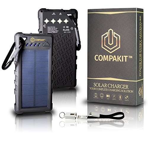 Solar Phone Charger by Compakit, Huge Capacity 16000 mAh Dual USB Power Bank, IP67 Waterproof with 4 LED Flashlight, Universal Compatibility Cell Phone Battery Pack, for Men & - Solar Keychain Power