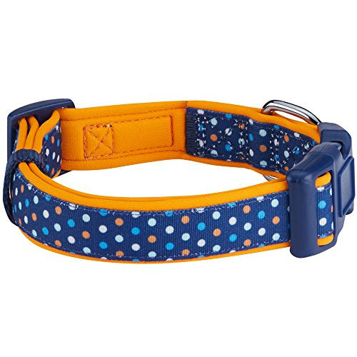 Image of Blueberry Pet 13 Patterns Multicolor Polka Dot Neoprene Padded Dog Collar in Passion Orange, Small, Neck 12