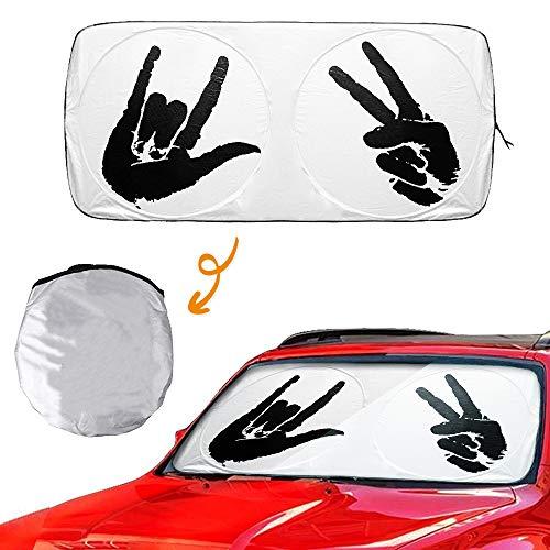 Metacrafter Car Windshield Sun Shade Cartoon Sunshade, Front Auto Window Sun Shade Foldable Outdoor Sun Visor Shield-Blocks UV Rays Hip Hop Design for SUV,Trucks,Van (Standard Size:59x33inch)