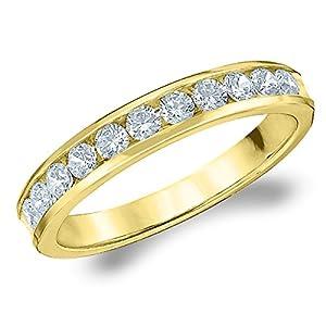 Amazon Com 14k Yellow Gold Diamond Channel Set Wedding