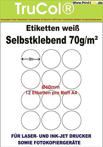 Runde Etiketten 60 mm Durchmesser 1200 Markierungspunkte selbstklebend blanko weiß rund auf A4 Bogen - 100 DIN A4 Bogen à 3x4 Ø 60mm Labels