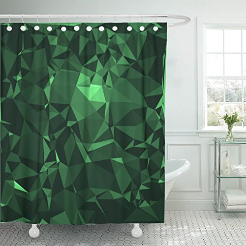 Emvency Shower Curtain Colorful City Emerald Stone Abstract Beautiful Gemstone in Deep and Sparkling Shades of Green Crystal Waterproof Polyester Fabric 72 x 72 inches Set with Hooks