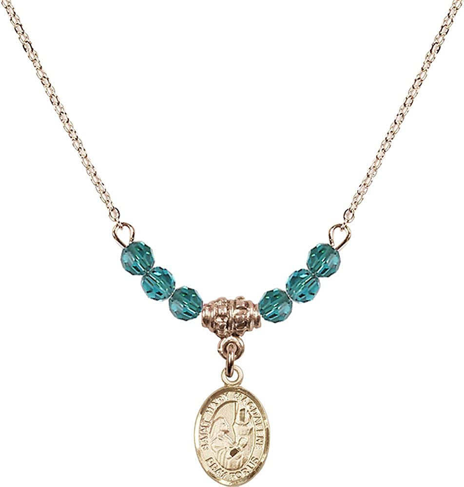 18-Inch Hamilton Gold Plated Necklace with 4mm Zircon Birthstone Beads and Gold Filled Saint Mary Magdalene Charm.