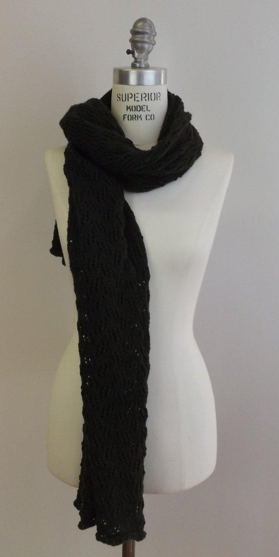 Handmade Knit Lace Shrug - Cashmere Blend - Dark Olive Green