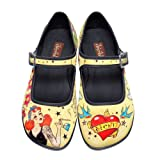 Hot Chocolate Design Chocolaticas Tattoo Women's Mary Jane Flat Multicoloured HCD 39