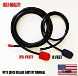 Battery Relocation Kit, 2 AWG Cable, Top Post 25 FT (+) / 8 FT