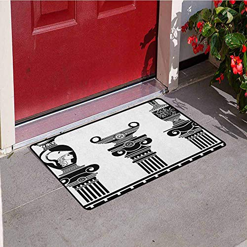 GloriaJohnson Toga Party Front Door mat Carpet Set of Hellenic Vases and Ionic Columns Artistic Design Amphora Antiquity Machine Washable Door mat W19.7 x L31.5 Inch Black and White