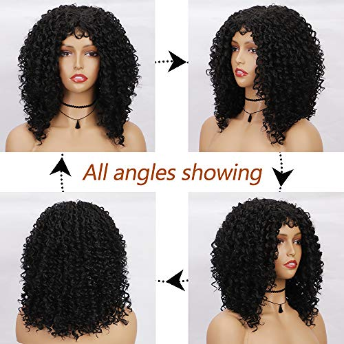 Lativ Kinky Curly Wig Short Curly Wigs Afro Kinky Wig Fluffy Wavy Heat Resistant Fiber Hair Black Shoulder Length for Women Natural Looking Daily Party Cosplay Use