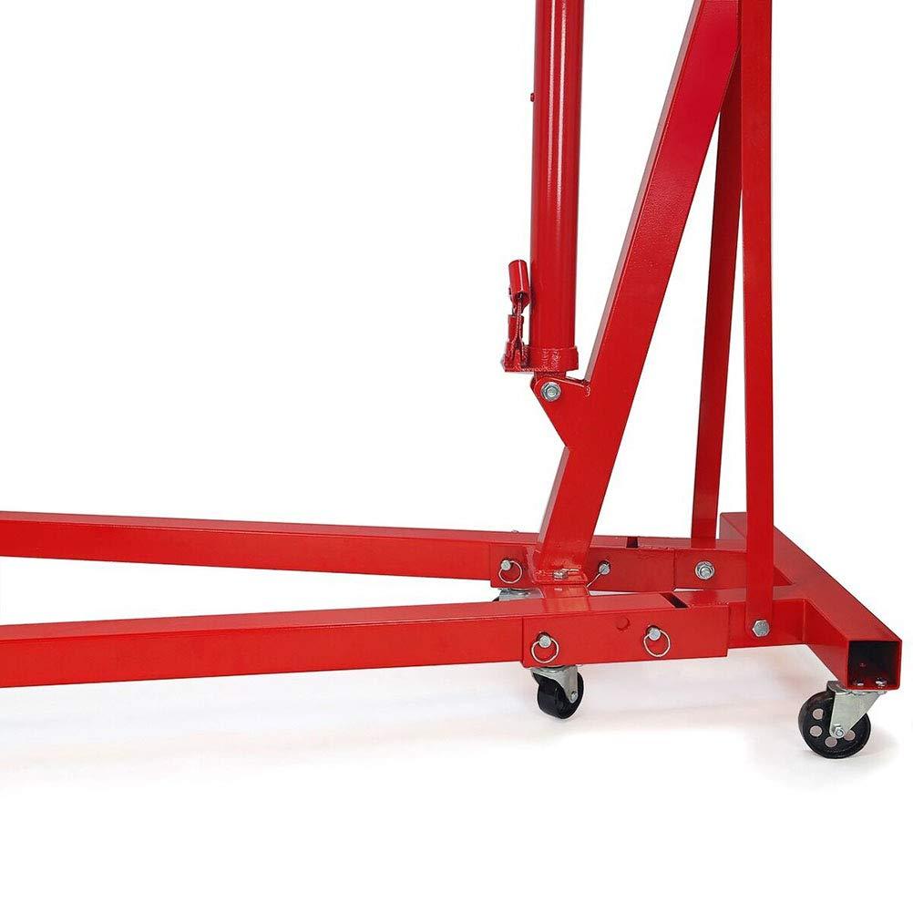 CLIENSY 2 Ton Red Color 4400 lb Folding Engine Hoist Cherry Picker Shop Crane Lift
