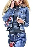 Women's Denim Jacket Casual Autumn Winter Classic Denim Tops Blue 2XL
