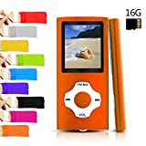 Tomameri - Portable MP3 / MP4 Player with Rhombic Button, Including a Micro SD Card and Support Up to 64GB, Compact Music, Video Player, Photo Viewer Supported, (Black-and-Orange)