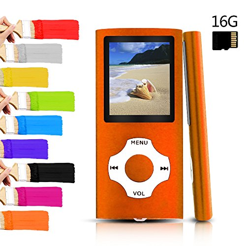 Tomameri – Portable MP3 / MP4 Player with Rhombic Button, Including a Micro SD Card and Support Up to 64GB, Compact Music, Video Player, Photo Viewer Supported,Black-and-Orange