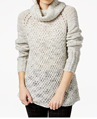 Sanctuary Womens Wool Blend Cowl Tunic Sweater Silver XL