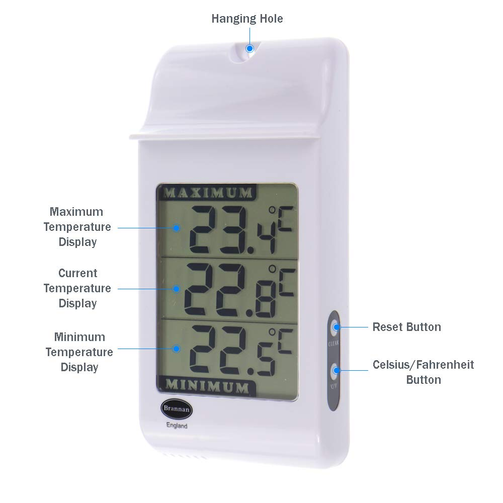 Brannan Digital Max Min Greenhouse Thermometer - Monitor Maximum and  Minimum Temperatures For Use In The Garden Greenhouse or Home & Can Be Used